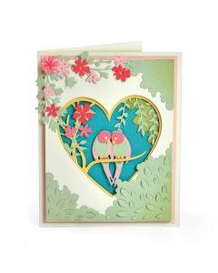 """Fustella Sizzix Thinlits """"Shadow box uccelli innamorati"""" - 663619"""
