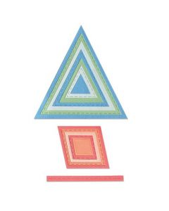 """Fustella Sizzix Thinlits """"Cornici cucite a forma geometrica"""" - 665068"""