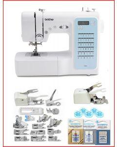 Macchina per cucire elettronica Brother FS40s Plus con Piedino tagliacuci + Set 15 piedini + Kit accessori extra