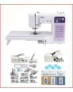 Macchina per cucire elettronica Brother FS70WTx Plus + Piedino tagliacuci + Set 15 Piedini