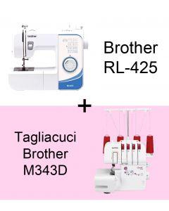 OFFERTA! Macchina per cucire meccanica Brother RL425 + Tagliacuci Brother M343D
